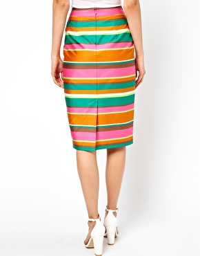 ASOS   ASOS Column Skirt in Candy Stripe at ASOS