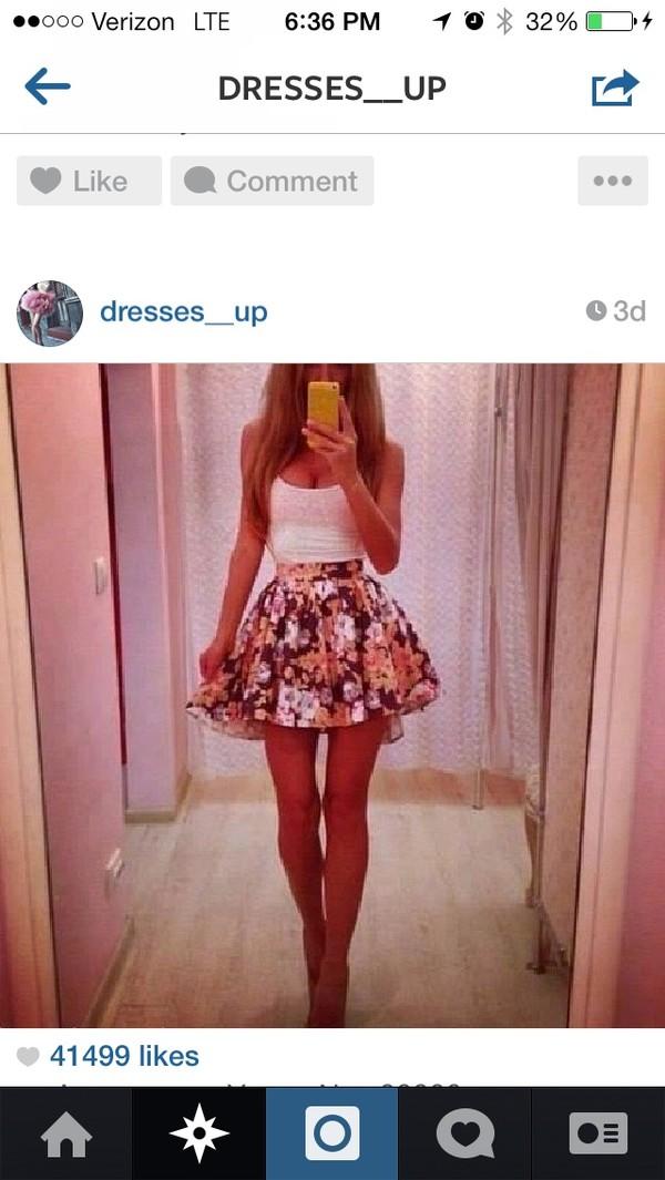 skirt flowers shorts skater skirt cute tank top blouse
