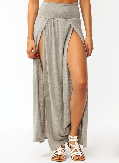 Double-Slit-Maxi-Skirt HGREY DKPEACH DKGREY RED TEAL TAUPE - GoJane.com