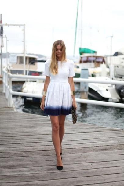 dress ombre white blue dip dyed ombre dress short arm