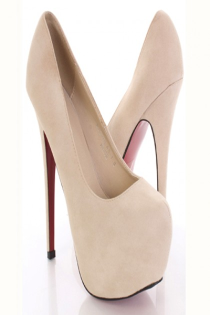 Cream Faux Suede Closed Round Toe Platform Pump Heels / Sexy Clubwear | Party Dresses | Sexy Shoes | Womens Shoes and Clothing | AMI CLubwear