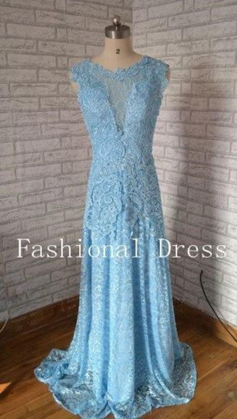 dress elegant dress light blue lace dress prom dress prom gown