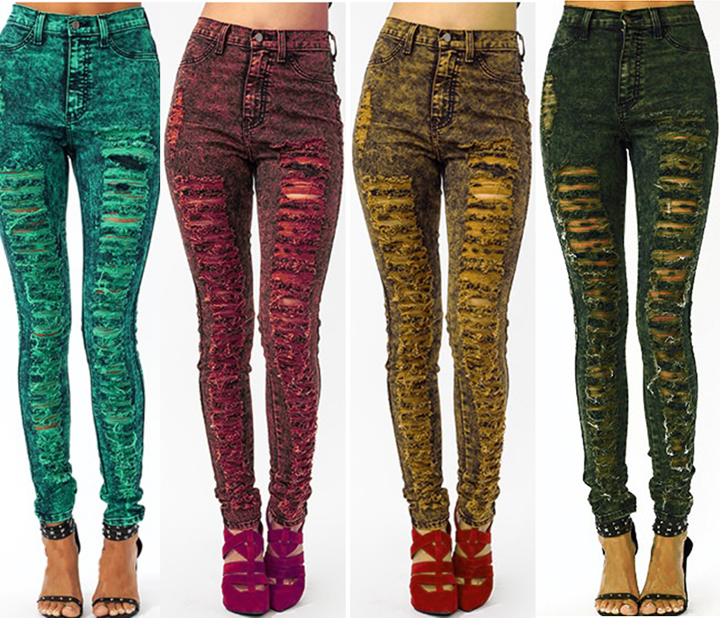 High Waist Color Acid Wash Skinny Distressed Ripped Destroyed Jean Pants Colored   eBay