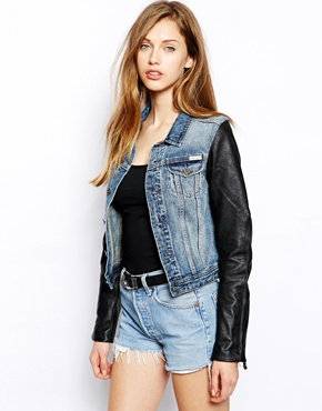 Maison Scotch | Maison Scotch Denim Jacket With Contrast Leather Sleeves at ASOS