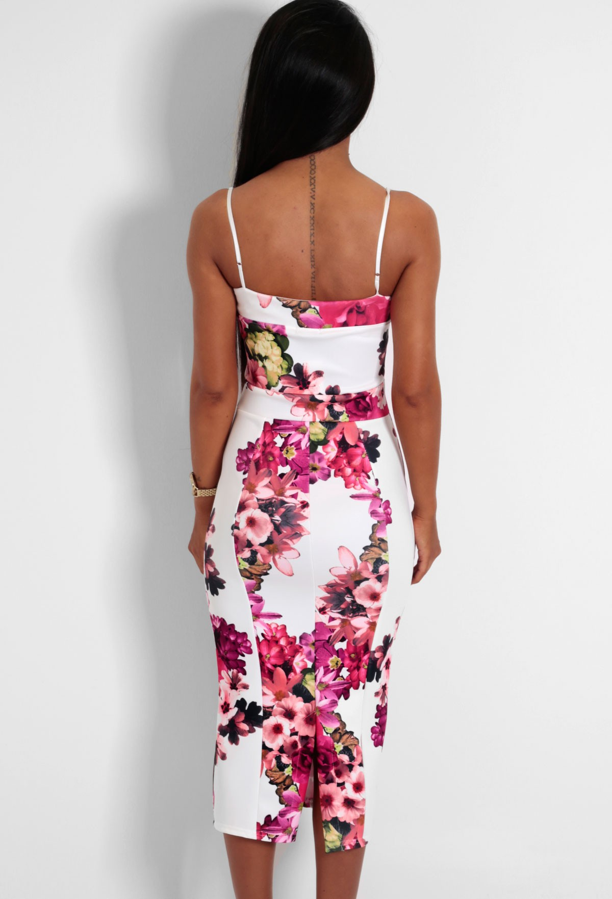 Romelia White And Red Floral Bodycon Midi Dress Pink