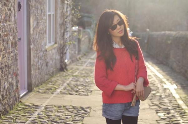 temporary secretary sweater shirt bag sunglasses shorts shoes