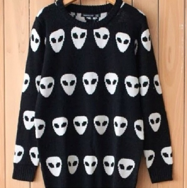 shirt sweater alien black white cool cute
