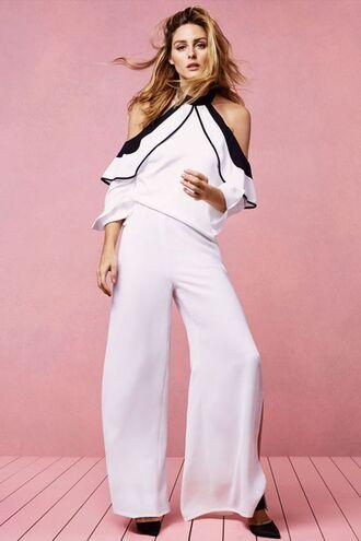 blouse top white olivia palermo pants wide-leg pants blogger