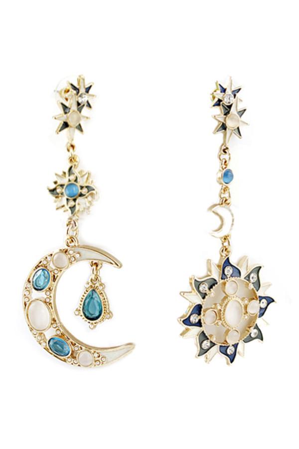 jewels earrings cool earrings long earrings sun moon starts jewelry beautiful pretty cute
