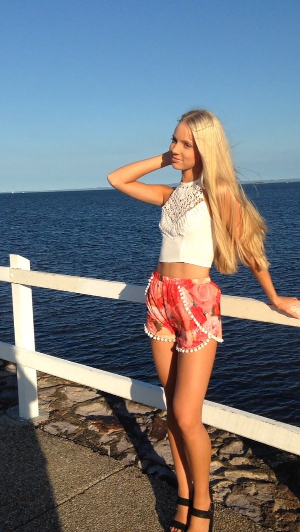 shorts pink red rose floral pom poms High waisted shorts shirt