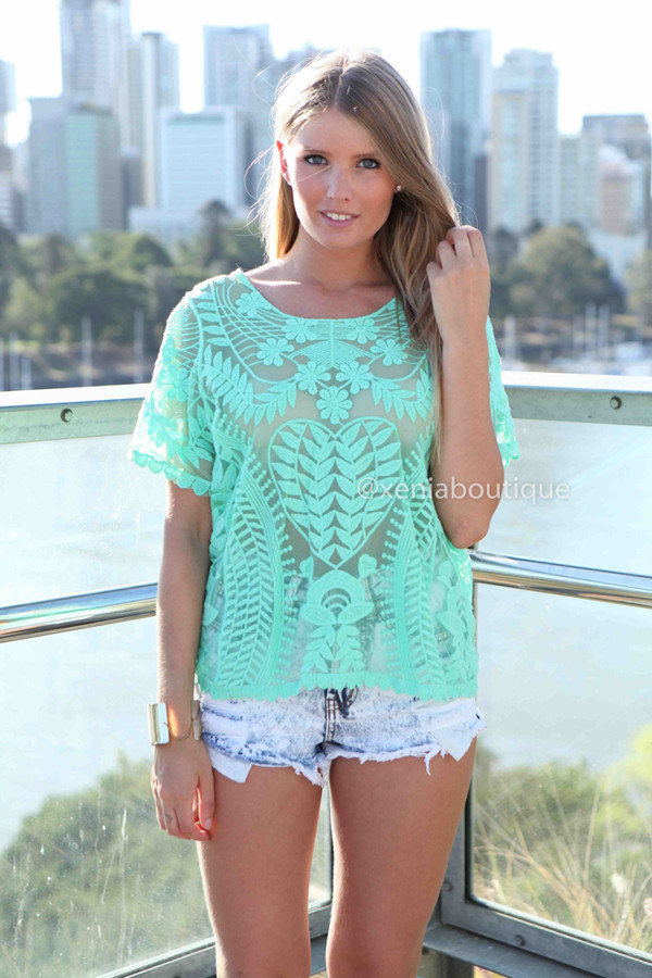 tank top xeniaboutique ootd ootn women's clothing top lace top lace mint