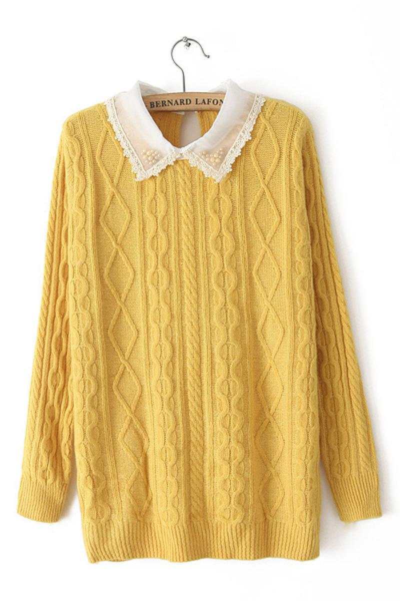 Autumn & Winter New Section Candy Colors Lace Collar Rabbit Hair Sweater,Cheap in Wendybox.com