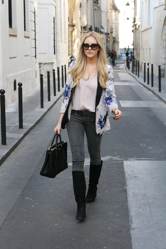 cheyenne meets chanel jacket shirt jeans shoes bag sunglasses belt jewels