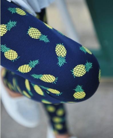 Street Style Pineapple Print Elastic Waist Leggings - Leggings - Bottoms - Clothing