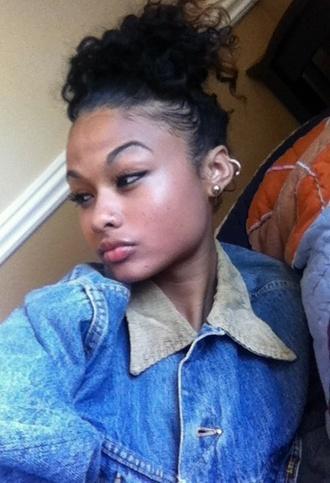 blouse jacket denim vintage levis india westbrooks earrings