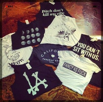 shirt hipster black la tanks crop tops vintage style fashion white summer spring bitch don't kill my vibe moon phases phases of the moon audrey hepburn paradise cove you can't sit with us