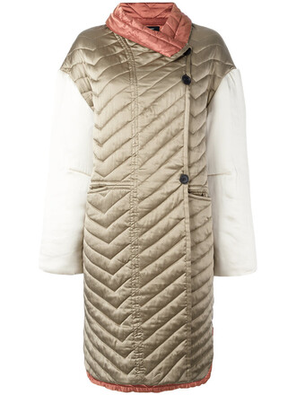 coat women quilted nude cotton silk