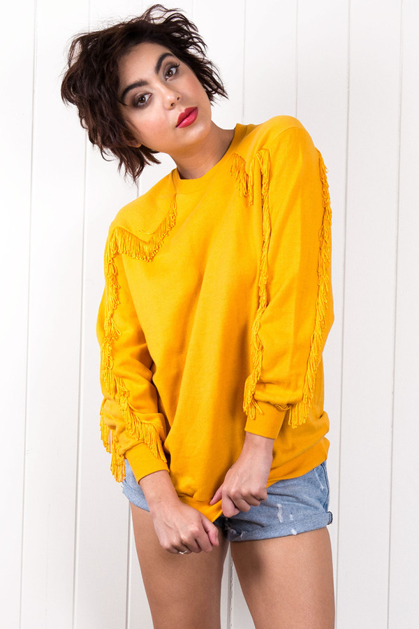 sweater sweatshirt jumper pullover pullover yellow fringing vintage
