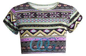 Womens Ladies Cap Sleeve Scoop Neck Foil Aztec Print Crop Vest Top UK 8 14 | eBay