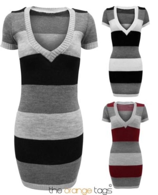 dress long dress long v-neck knitwear knitted dress striped dress stripe jumper jumper short sleeve dress top sweater grey black wine fashion