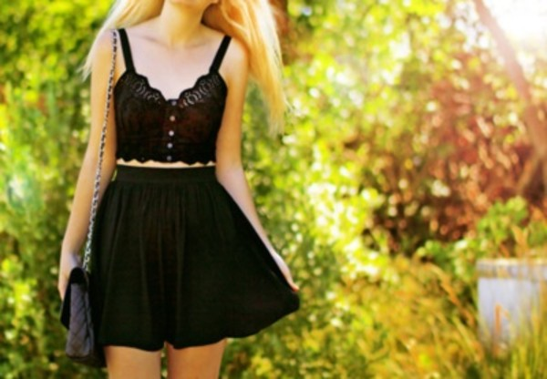 tank top lace bralette black bralette bralette lace detailing black skirt dress black dress skater skirt buttons skirt