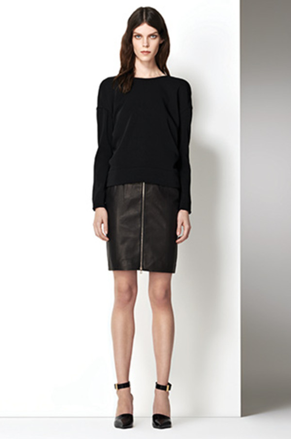 sweater lookbook fashion j brand skirt