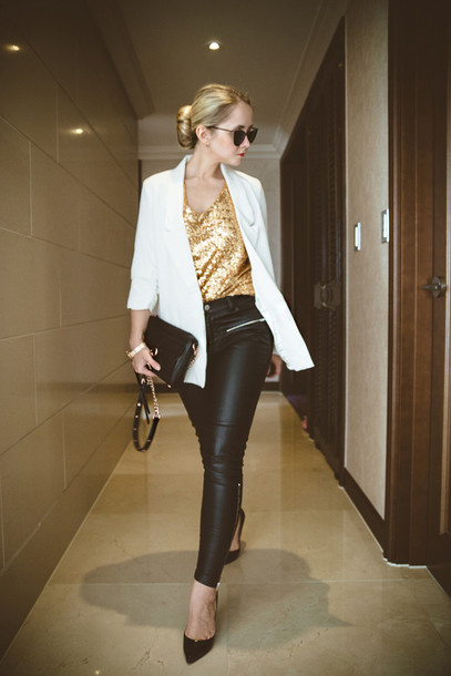 my blonde gal blogger leather pants gold sequins blazer bag top pants jewels jacket sunglasses shoes black leather pants sequin shirt