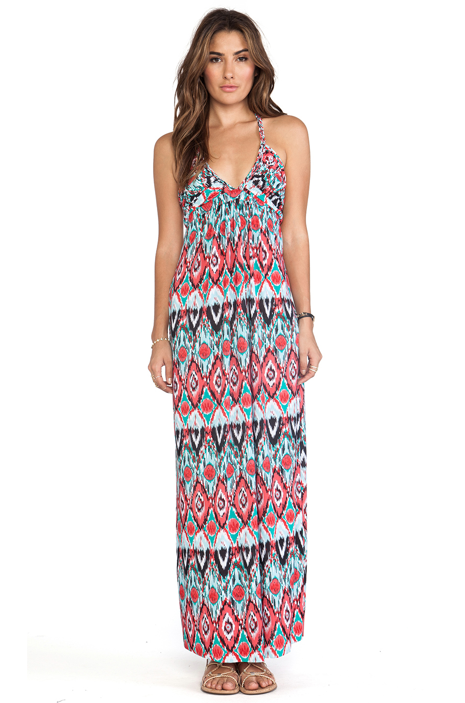 T-Bags LosAngeles Deep V Maxi Dress in Red & Turquoise Tribal | REVOLVE
