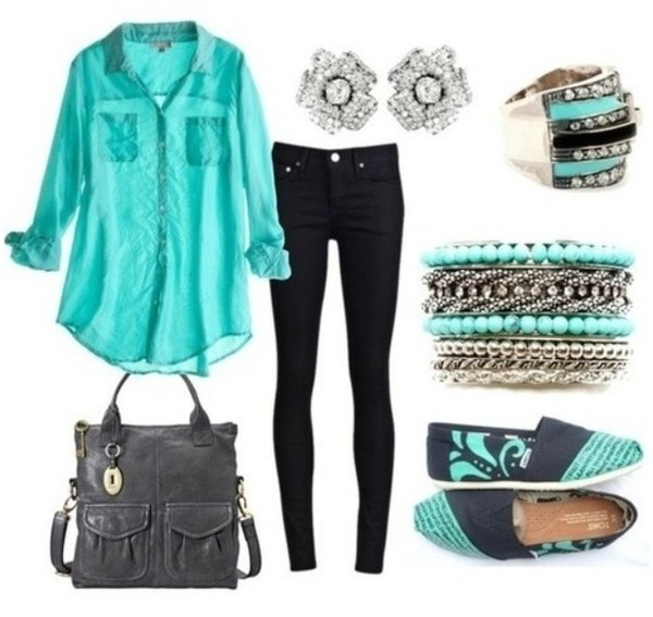 blouse aqua blue black pants shirt jewelry bag purse outfit shoes jewels