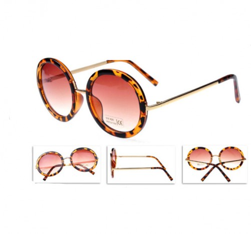 Buy Fashion Round Shaped UV400 Sunglasses Leopard with cheapest price|Clothing-Dropship.com