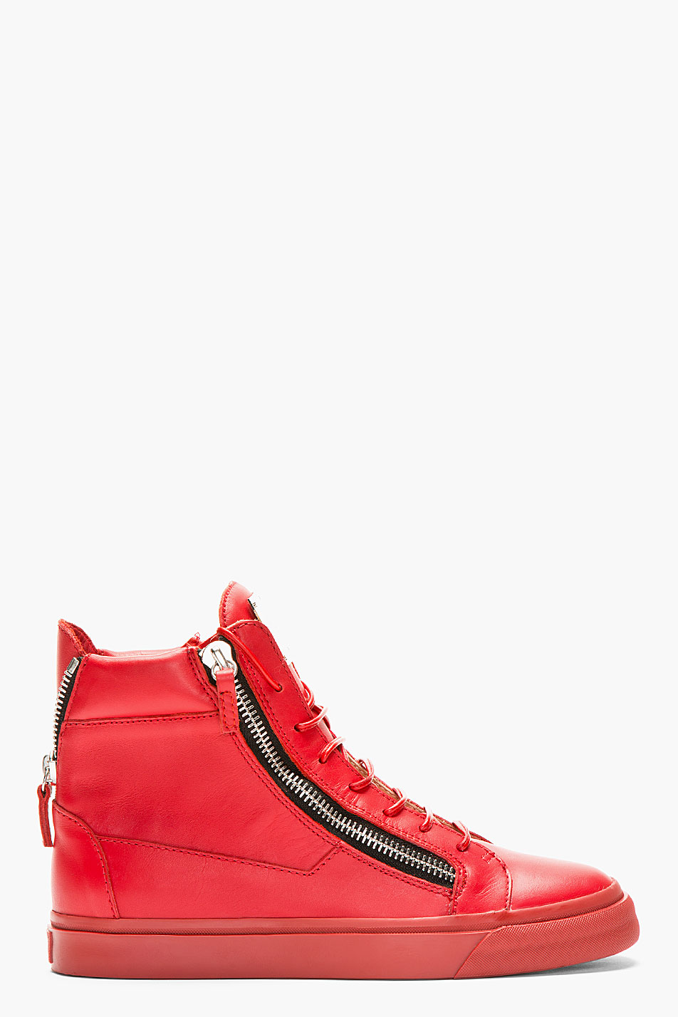 giuseppe zanotti red leather high_top sneakers