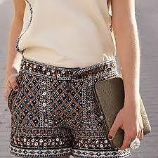 Zara Bloggers Sequin Beaded Party Shorts Size XS Extra Small | eBay