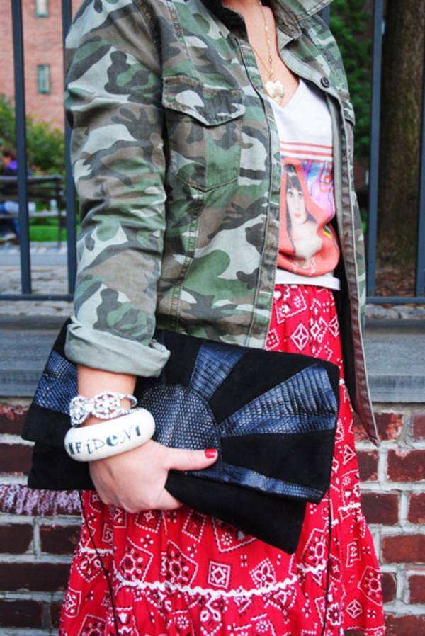 jewels camo jacket skreened black clutch bag rhinestone bracelet bangle country style bag tank top skirt