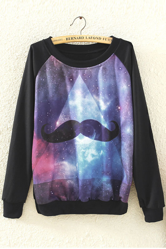 Galaxy Mustache Print Pullover with Black Sleeve [FOBK00237] - PersunMall.com