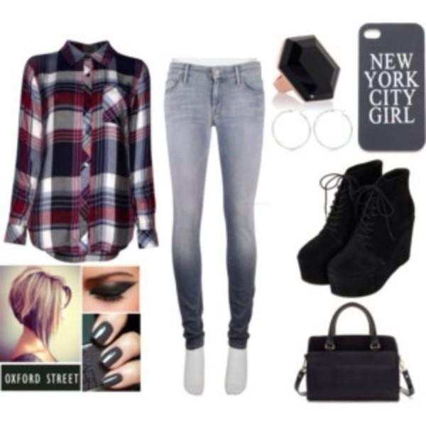 blouse jeans jewels shoes bag