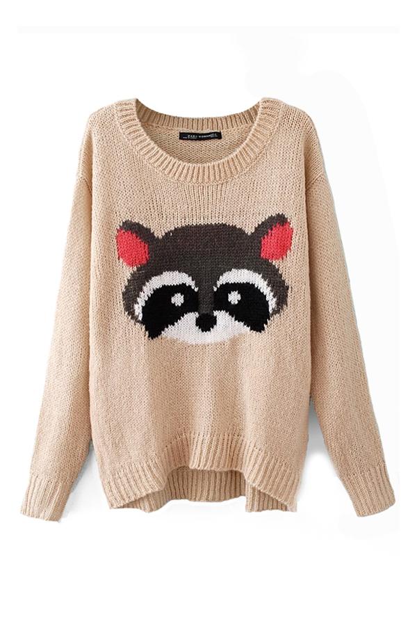 Beige Little Raccoon Knitted Sweater, Cheap fashion online store - FOYMALL