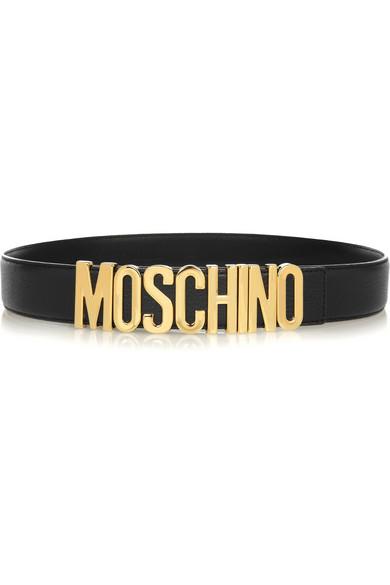 Moschino|Olivia textured-leather belt|NET-A-PORTER.COM