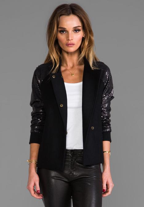 LINE & DOT Sequin Contrast Varsity Jacket in Black - Line & Dot
