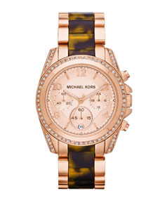 Michael Kors Mid-Size Rose Golden Stainless Steel Blair Chronograph Glitz Watch - Michael Kors