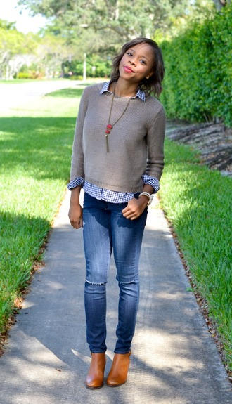 cha cha the fashion genius blogger jeans knitted sweater gingham necklace brown leather boots