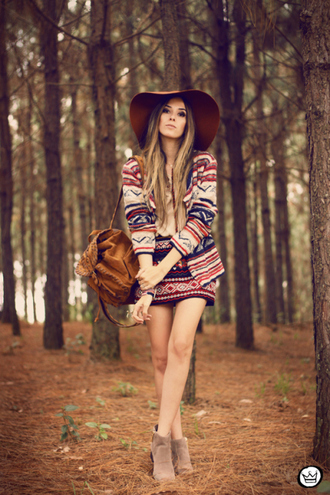 fashion coolture t-shirt skirt sweater hat shoes jacket bag suede backpack backpack brown backpack printed jacket shorts printed shorts floppy hat brown hat boots flat boots grey boots blogger