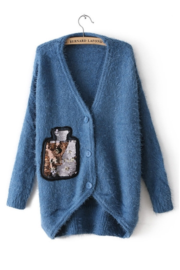 Sequin Bottle Embroidery Mohair Knit Coat [FEBK0195]- US$31.99 - PersunMall.com