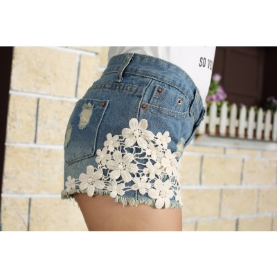 Buy Fashion Clothing -  Crochet flowers edges and rivets women's denim shorts  - Shorts - Bottoms