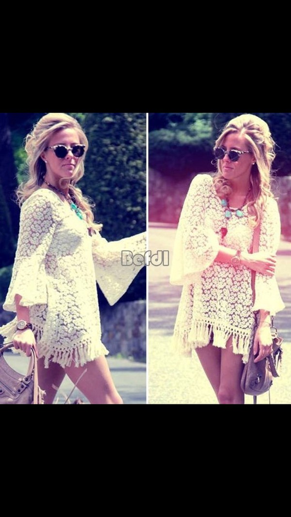 dress hoppy white boho hippy dress