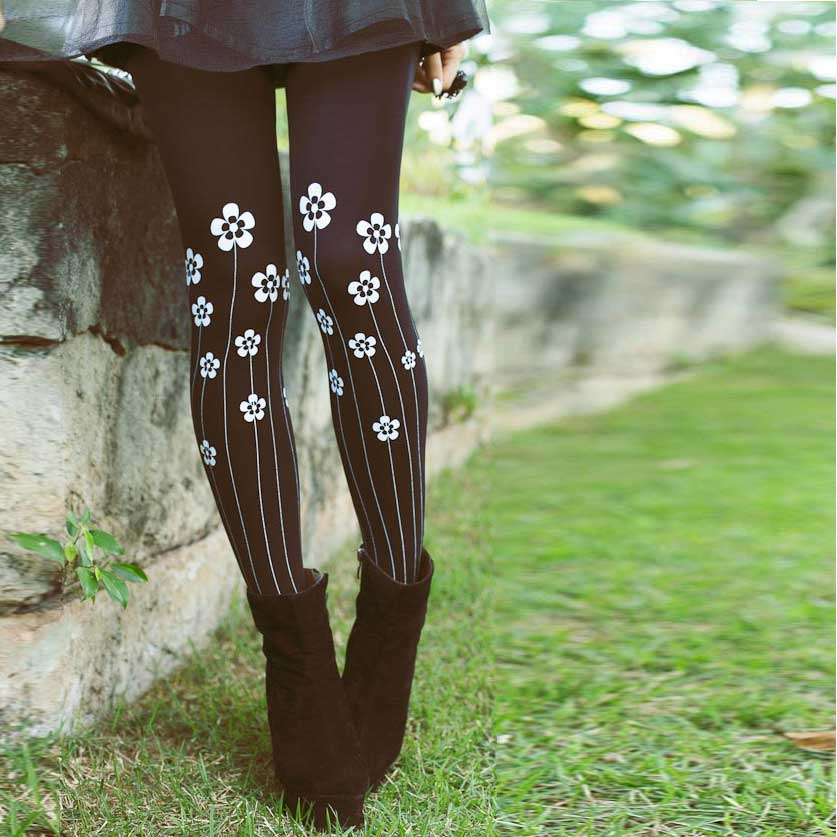 Flowers Garden Print Tights Black & Grey - Zohara - Free Shipping