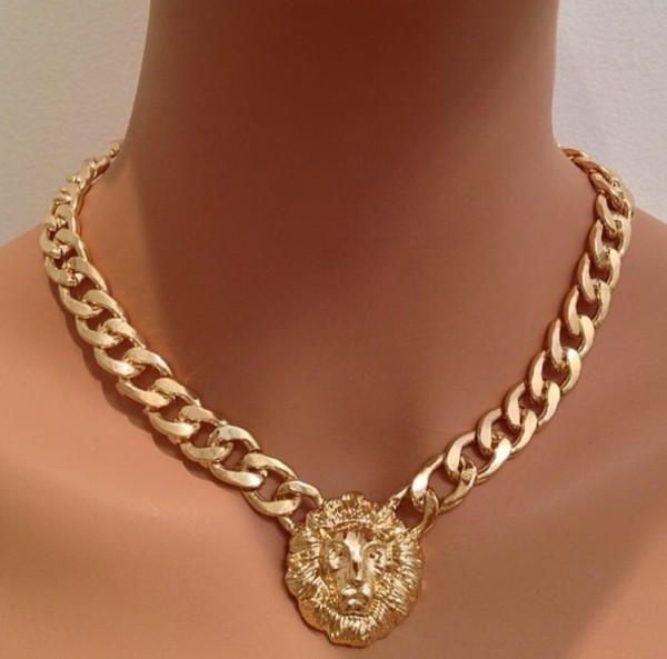 jewels necklace gold chain lion lion head