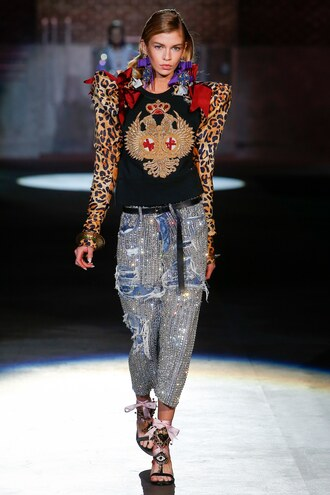 pants top stella maxwell milan fashion week 2016 dsquared blouse sequins sandals