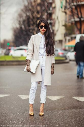 shirt pants shoes chic muse coat