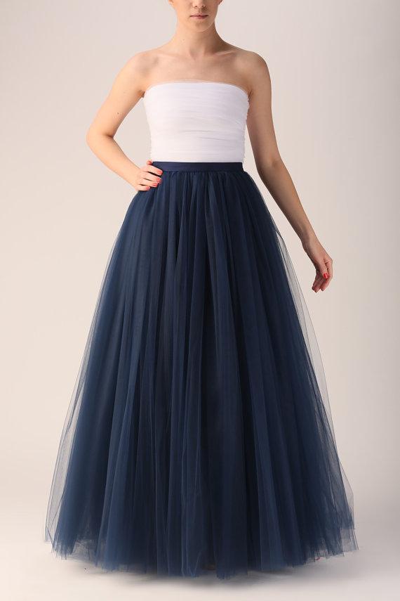 Maxi tutu tulle skirt maxi petticoat dark blue tutu by Fanfaronada