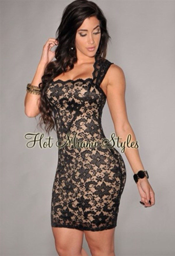 dress black lace dress blk & nude